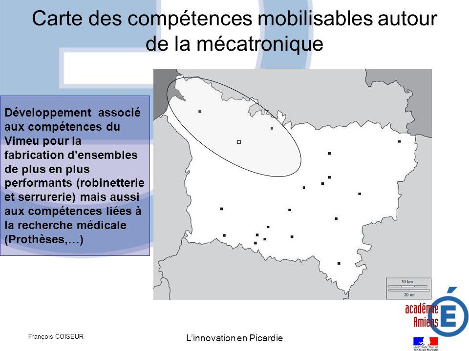 François COISEUR Linnovation en Picardie Carte des compétences mobilisables autour de la mécatronique Développement associé aux compétences du Vimeu p