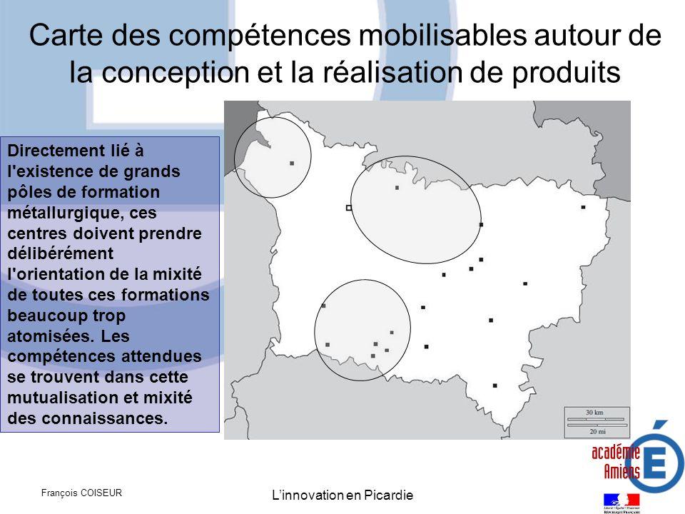 François COISEUR Linnovation en Picardie Carte des compétences mobilisables autour de la conception et la réalisation de produits Directement lié à l'