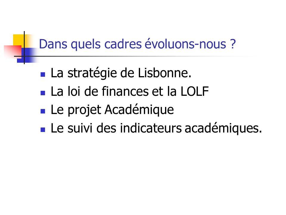 Dans quels cadres évoluons-nous .La stratégie de Lisbonne.