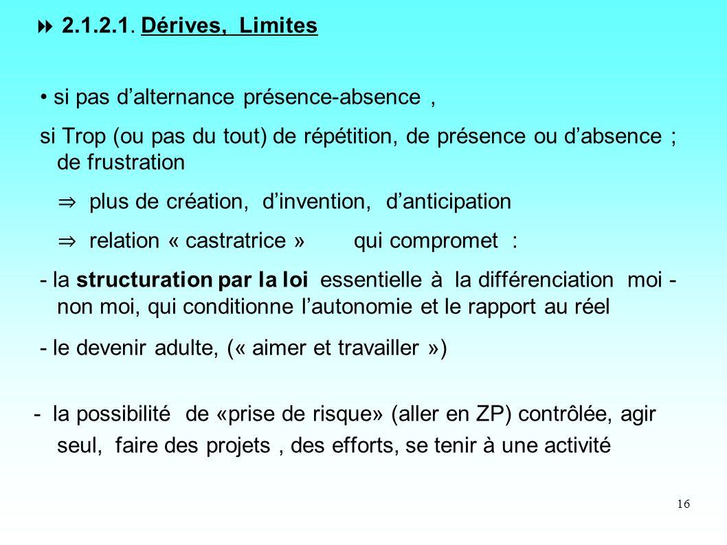 16 2.1.2.1. Dérives, Limites si pas dalternance présence-absence, si Trop (ou pas du tout) de répétition, de présence ou dabsence ; de frustration plu