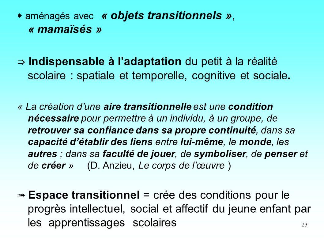 23 aménagés avec « objets transitionnels », « mamaïsés » Indispensable à ladaptation du petit à la réalité scolaire : spatiale et temporelle, cognitiv