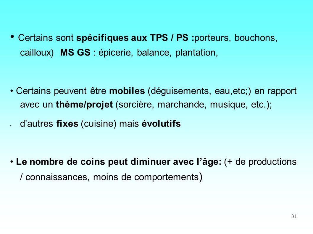 31 Certains sont spécifiques aux TPS / PS :porteurs, bouchons, cailloux) MS GS : épicerie, balance, plantation, Certains peuvent être mobiles (déguise