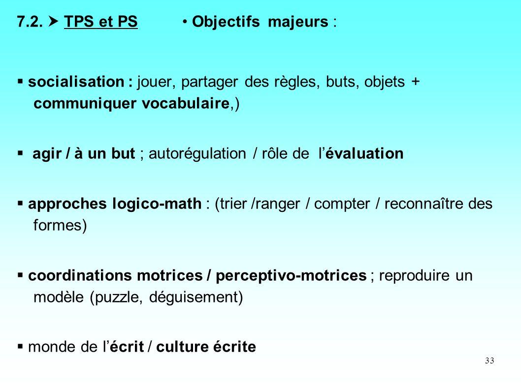 33 7.2. TPS et PS Objectifs majeurs : socialisation : jouer, partager des règles, buts, objets + communiquer vocabulaire,) agir / à un but ; autorégul