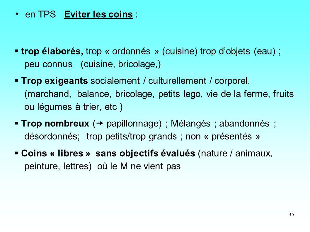 35 en TPS Eviter les coins : trop élaborés, trop « ordonnés » (cuisine) trop dobjets (eau) ; peu connus (cuisine, bricolage,) Trop exigeants socialeme