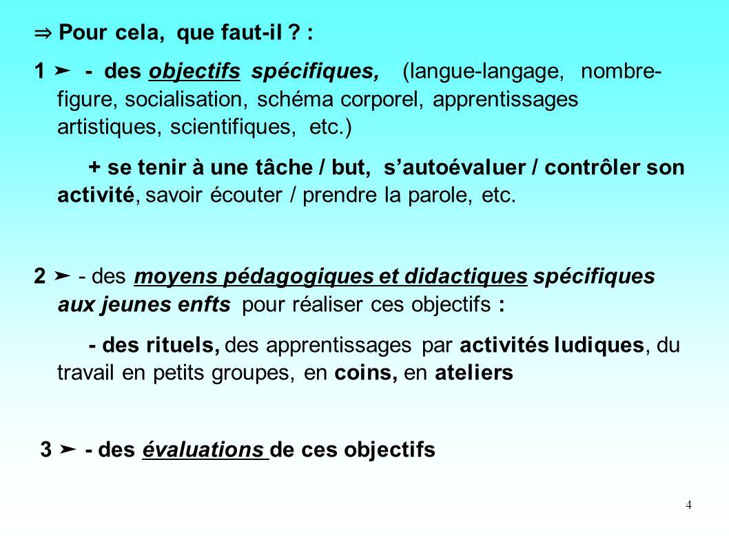 4 Pour cela, que faut-il ? : 1 - des objectifs spécifiques, (langue-langage, nombre- figure, socialisation, schéma corporel, apprentissages artistique