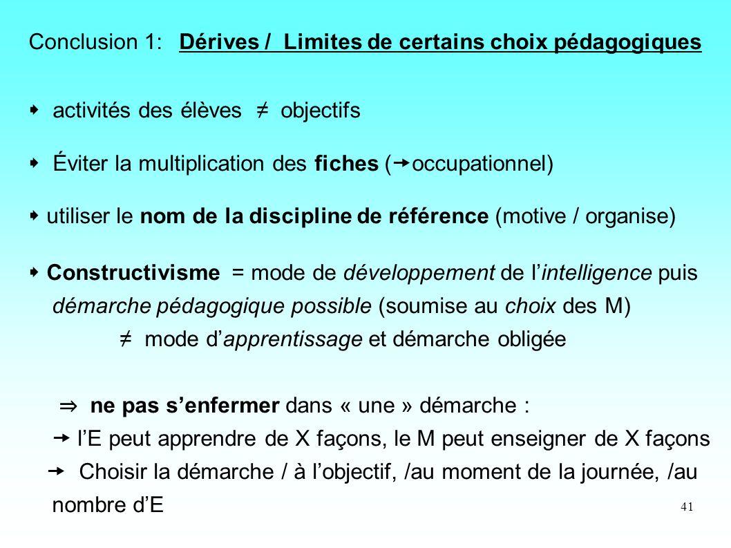41 Conclusion 1: Dérives / Limites de certains choix pédagogiques activités des élèves objectifs Éviter la multiplication des fiches ( occupationnel)