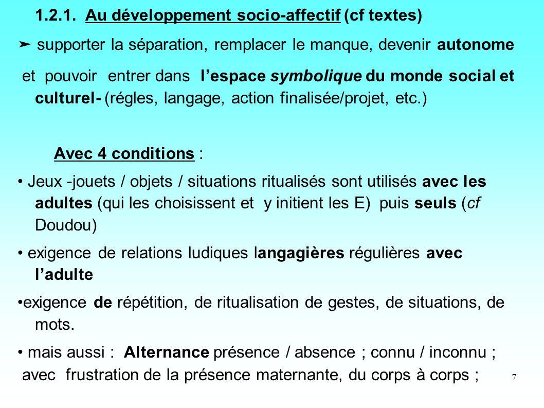 7 1.2.1. Au développement socio-affectif (cf textes) supporter la séparation, remplacer le manque, devenir autonome et pouvoir entrer dans lespace sym