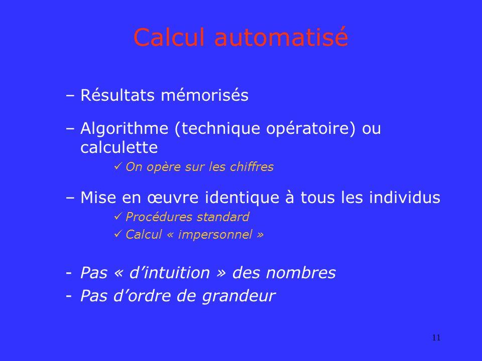 11 Calcul automatisé –Résultats mémorisés –Algorithme (technique opératoire) ou calculette On opère sur les chiffres –Mise en œuvre identique à tous l
