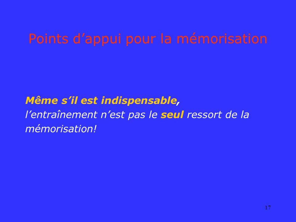 17 Points dappui pour la mémorisation Même sil est indispensable, lentraînement nest pas le seul ressort de la mémorisation!