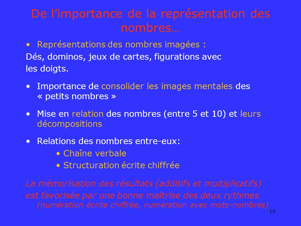 19 De limportance de la représentation des nombres… Représentations des nombres imagées : Dés, dominos, jeux de cartes, figurations avec les doigts. I