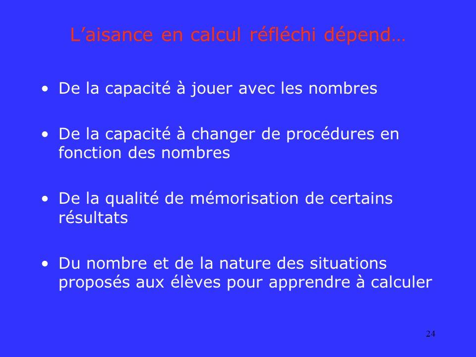 24 Laisance en calcul réfléchi dépend… De la capacité à jouer avec les nombres De la capacité à changer de procédures en fonction des nombres De la qu