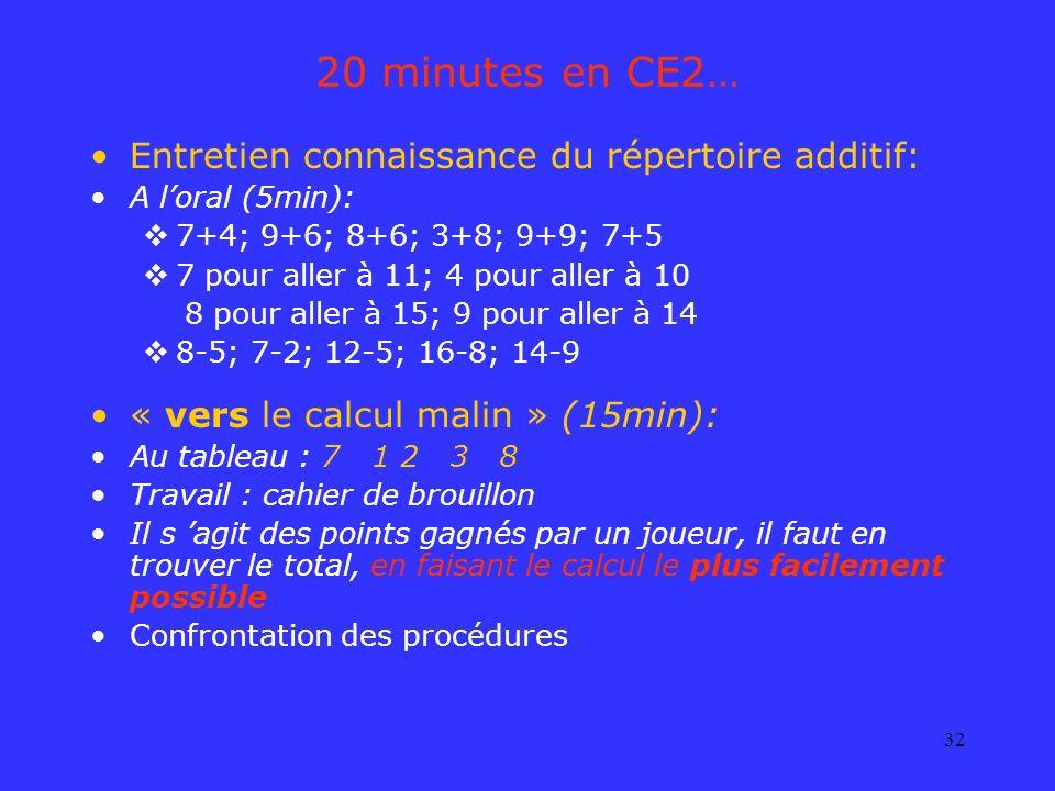32 20 minutes en CE2… Entretien connaissance du répertoire additif: A loral (5min): 7+4; 9+6; 8+6; 3+8; 9+9; 7+5 7 pour aller à 11; 4 pour aller à 10