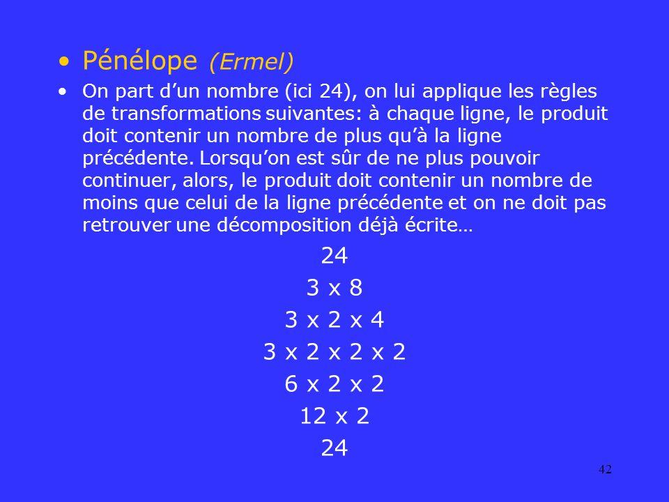 42 Pénélope (Ermel) On part dun nombre (ici 24), on lui applique les règles de transformations suivantes: à chaque ligne, le produit doit contenir un