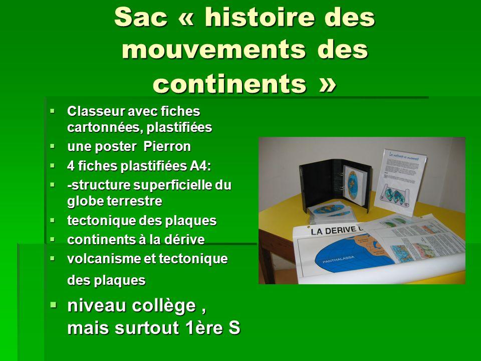 Sac « histoire des mouvements des continents » Classeur avec fiches cartonnées, plastifiées Classeur avec fiches cartonnées, plastifiées une poster Pi