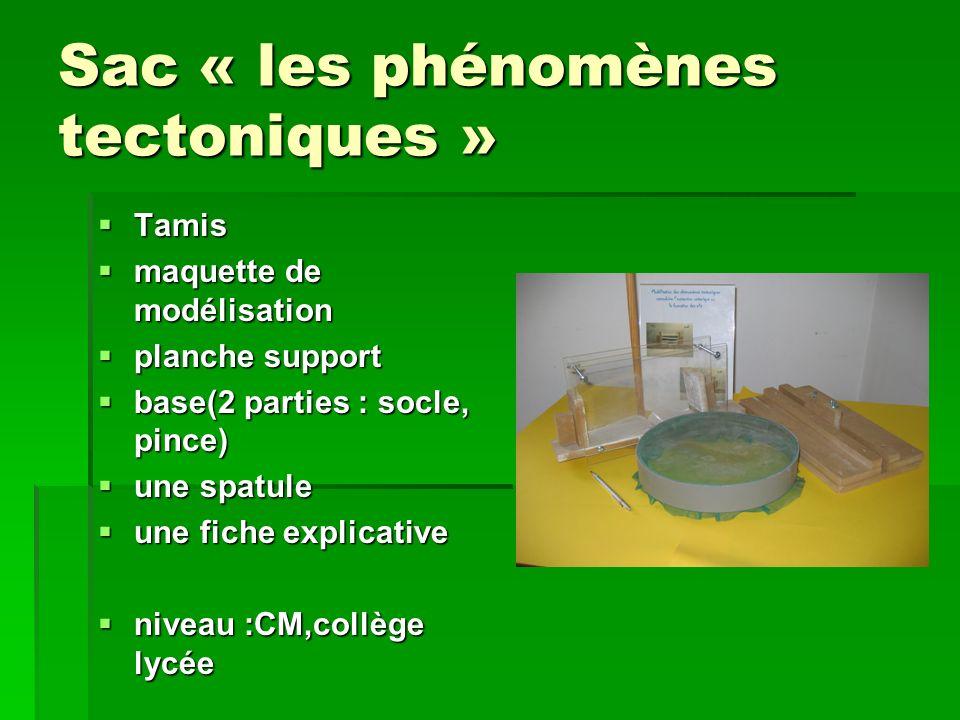 Sac « les phénomènes tectoniques » Tamis Tamis maquette de modélisation maquette de modélisation planche support planche support base(2 parties : socl
