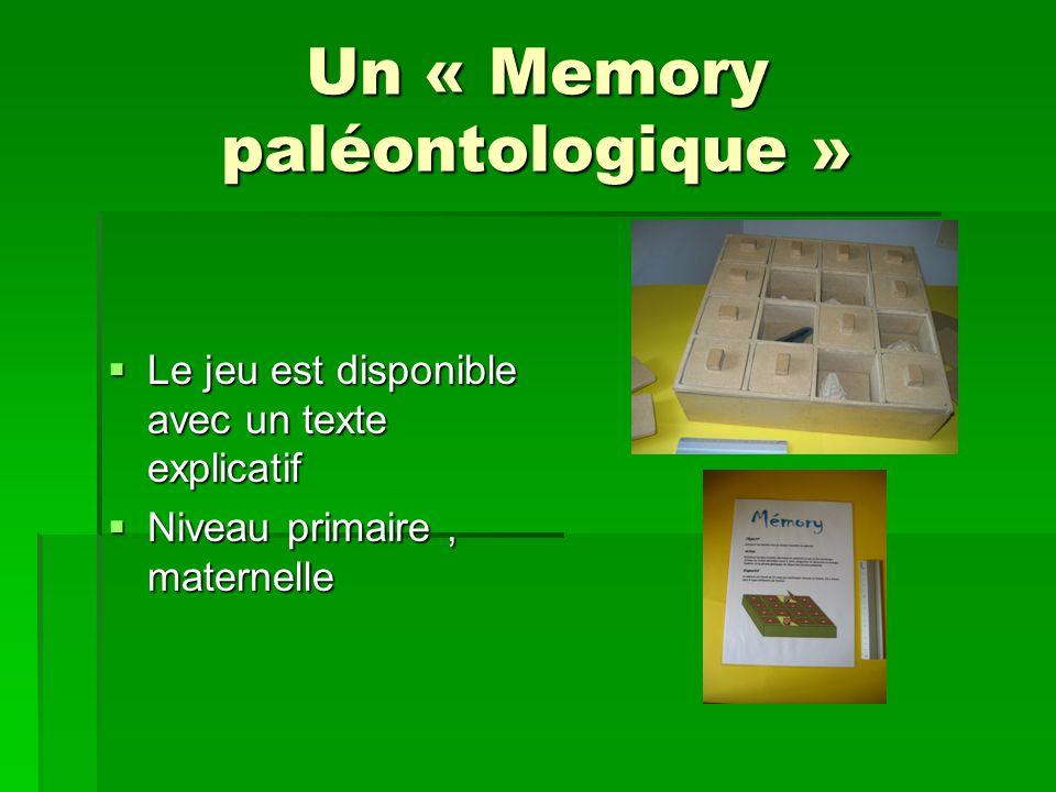 Un « Memory paléontologique » Le jeu est disponible avec un texte explicatif Le jeu est disponible avec un texte explicatif Niveau primaire, maternell