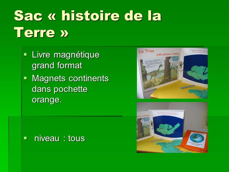Sac « histoire de la Terre » Livre magnétique grand format Livre magnétique grand format Magnets continents dans pochette orange. Magnets continents d
