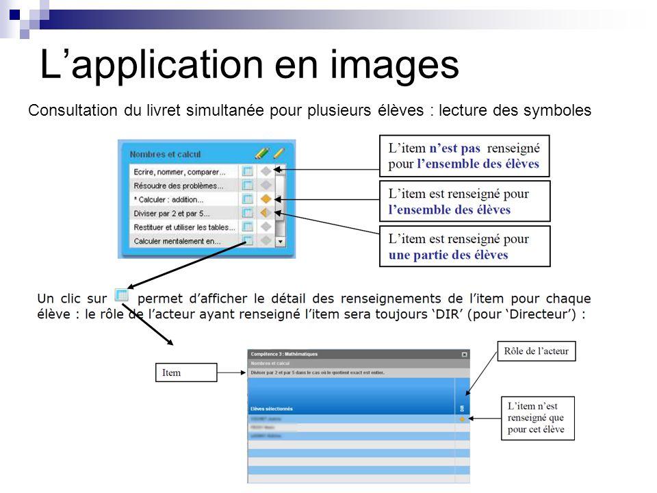 Lapplication en images Consultation du livret simultanée pour plusieurs élèves : lecture des symboles