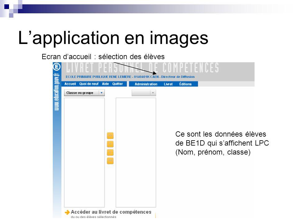 Lapplication en images Ecran daccueil : sélection des élèves Ce sont les données élèves de BE1D qui saffichent LPC (Nom, prénom, classe)