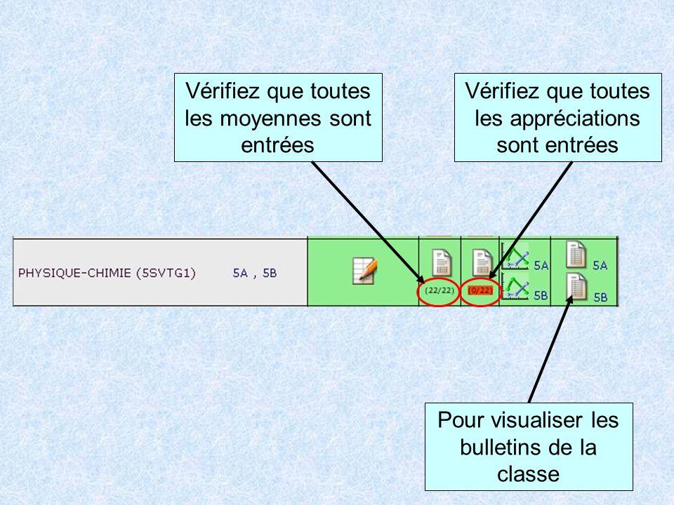 Pour visualiser les bulletins de la classe Vérifiez que toutes les moyennes sont entrées Vérifiez que toutes les appréciations sont entrées