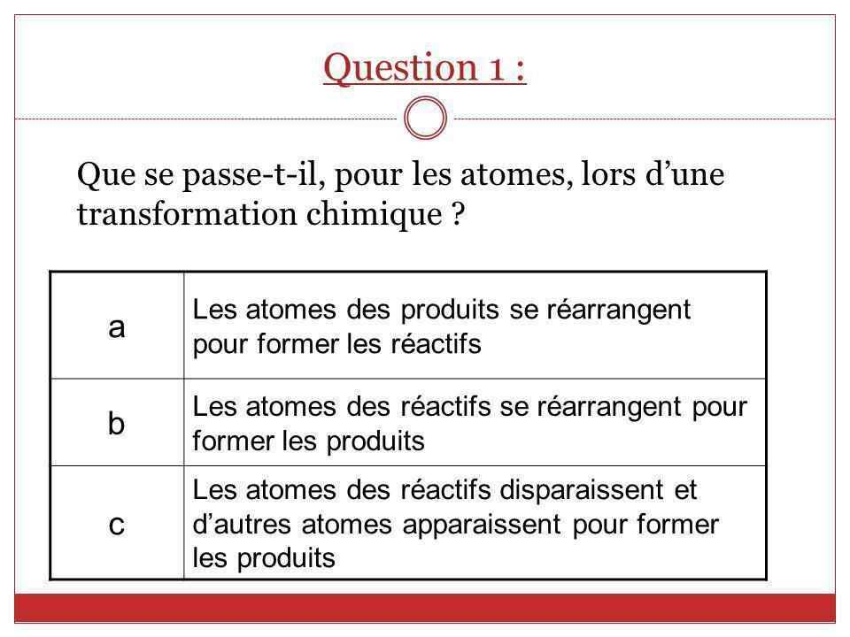 Question 1 : Que se passe-t-il, pour les atomes, lors dune transformation chimique ? a Les atomes des produits se réarrangent pour former les réactifs