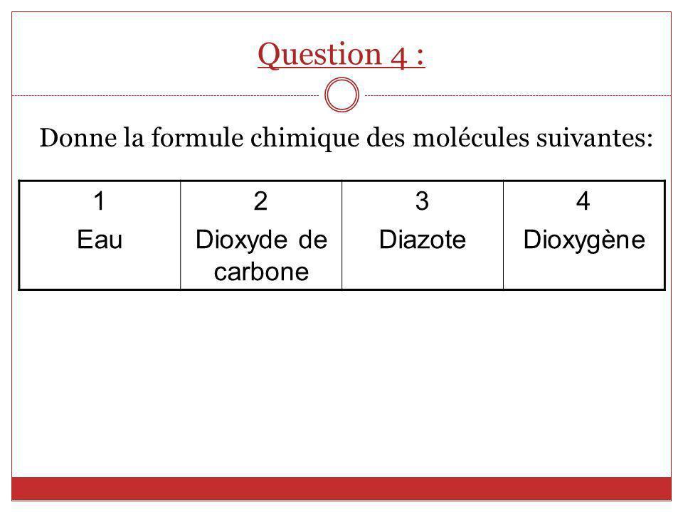 Donne la formule chimique des molécules suivantes: 1 Eau 2 Dioxyde de carbone 3 Diazote 4 Dioxygène Question 4 :