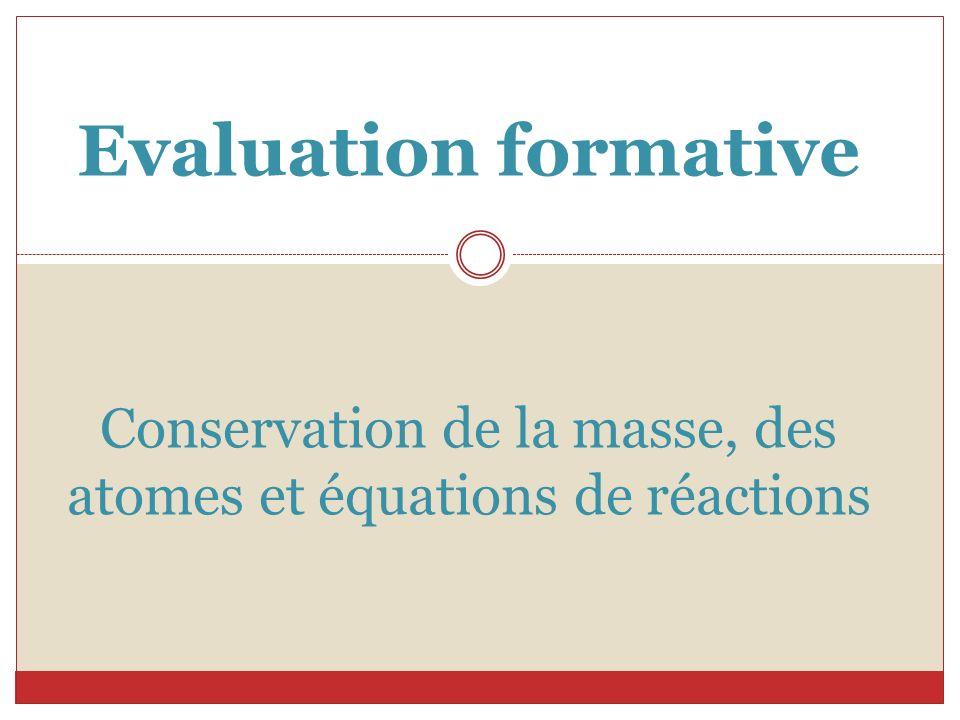 Evaluation formative Conservation de la masse, des atomes et équations de réactions