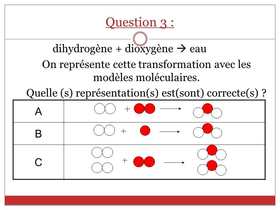 dihydrogène + dioxygène eau On représente cette transformation avec les modèles moléculaires. Quelle (s) représentation(s) est(sont) correcte(s) ? A B
