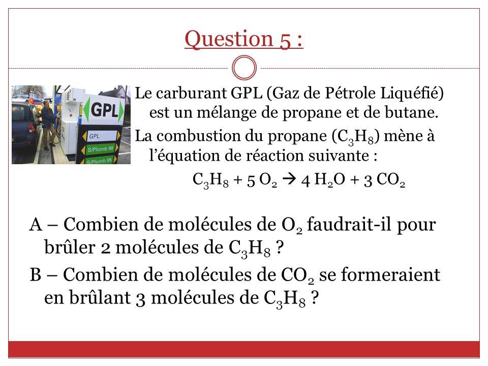 Le carburant GPL (Gaz de Pétrole Liquéfié) est un mélange de propane et de butane. La combustion du propane (C 3 H 8 ) mène à léquation de réaction su