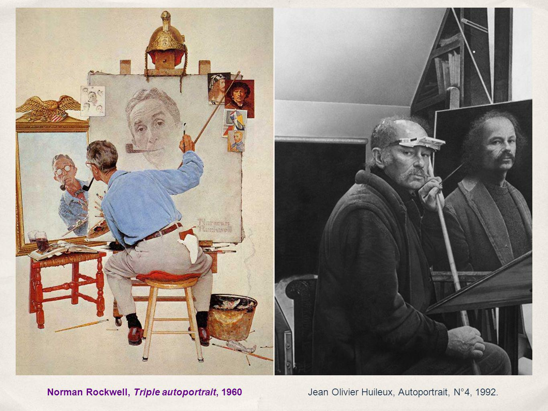 Jean Olivier Huileux, Autoportrait, N°4, 1992.Norman Rockwell, Triple autoportrait, 1960