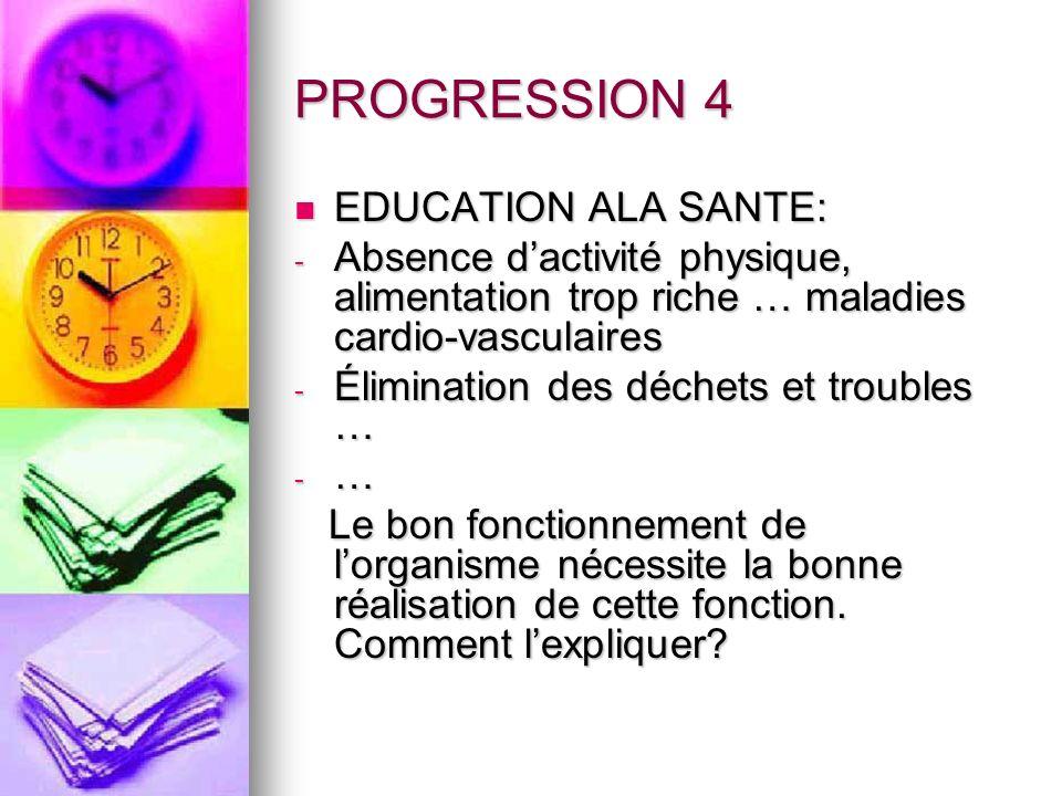 PROGRESSION 4 EDUCATION ALA SANTE: EDUCATION ALA SANTE: - Absence dactivité physique, alimentation trop riche … maladies cardio-vasculaires - Éliminat