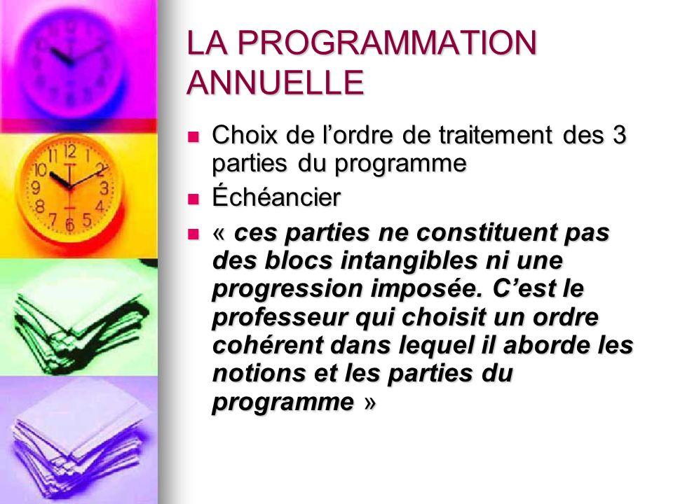 LA PROGRAMMATION ANNUELLE Choix de lordre de traitement des 3 parties du programme Choix de lordre de traitement des 3 parties du programme Échéancier