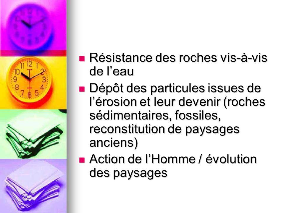 Résistance des roches vis-à-vis de leau Résistance des roches vis-à-vis de leau Dépôt des particules issues de lérosion et leur devenir (roches sédime