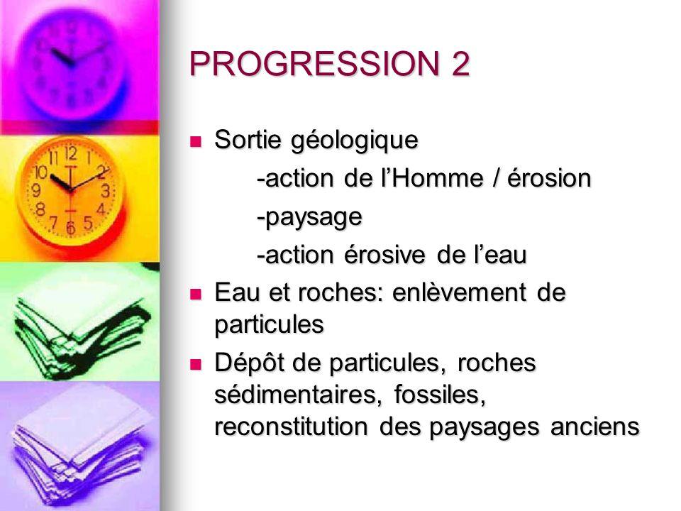 PROGRESSION 2 Sortie géologique Sortie géologique -action de lHomme / érosion -paysage -action érosive de leau Eau et roches: enlèvement de particules
