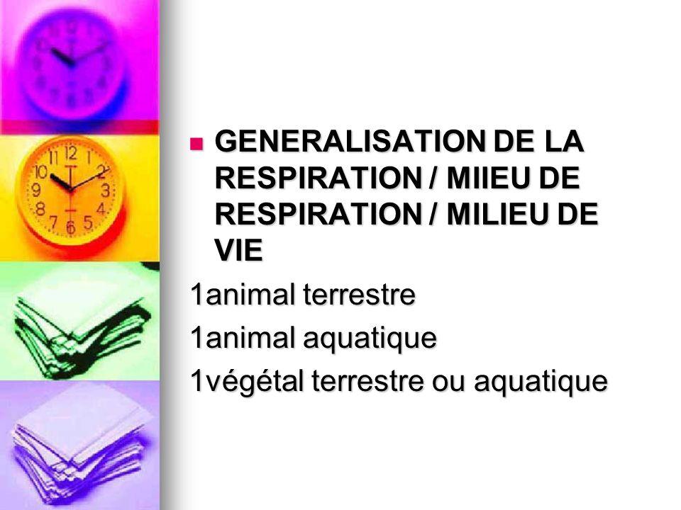 GENERALISATION DE LA RESPIRATION / MIIEU DE RESPIRATION / MILIEU DE VIE GENERALISATION DE LA RESPIRATION / MIIEU DE RESPIRATION / MILIEU DE VIE 1anima