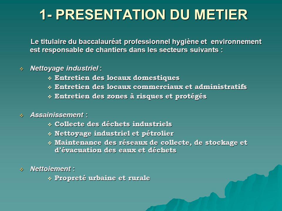 1- PRESENTATION DU METIER Le titulaire du baccalauréat professionnel hygiène et environnement est responsable de chantiers dans les secteurs suivants