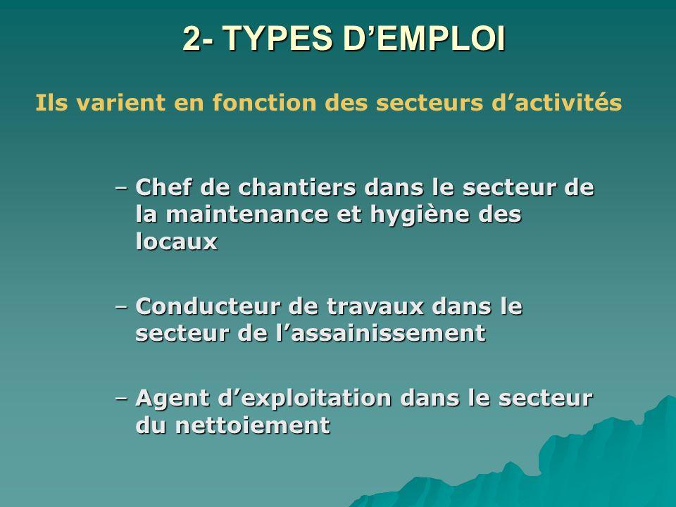 2- TYPES DEMPLOI –Chef de chantiers dans le secteur de la maintenance et hygiène des locaux –Conducteur de travaux dans le secteur de lassainissement