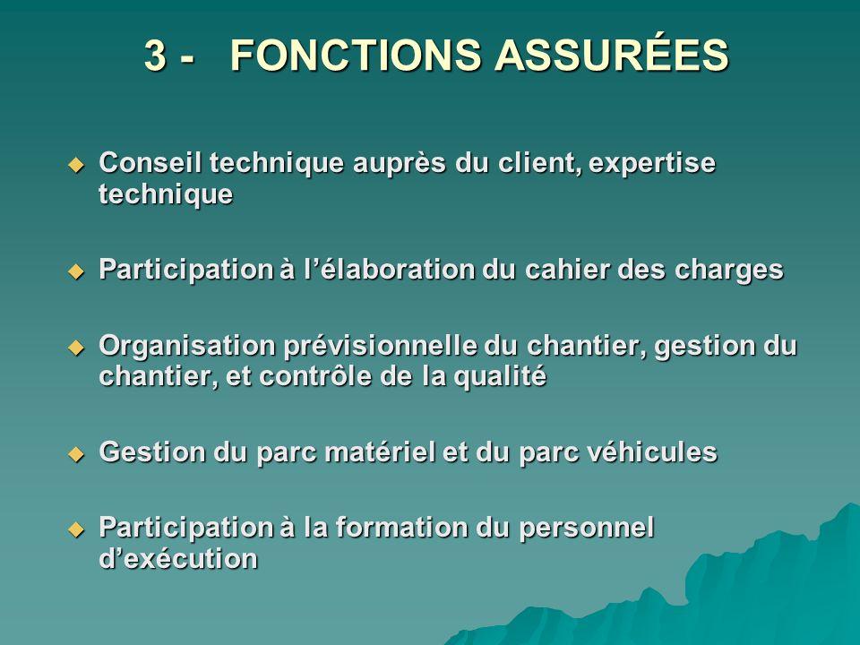 3 - FONCTIONS ASSURÉES Conseil technique auprès du client, expertise technique Conseil technique auprès du client, expertise technique Participation à
