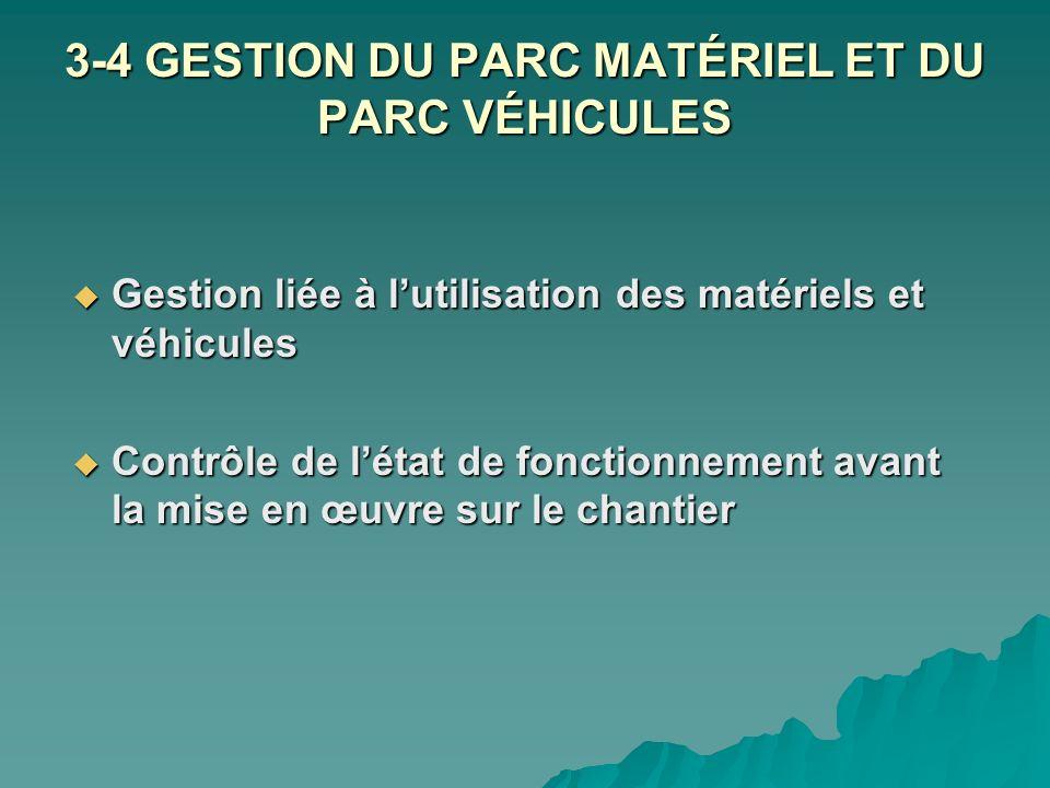 3-4 GESTION DU PARC MATÉRIEL ET DU PARC VÉHICULES Gestion liée à lutilisation des matériels et véhicules Gestion liée à lutilisation des matériels et