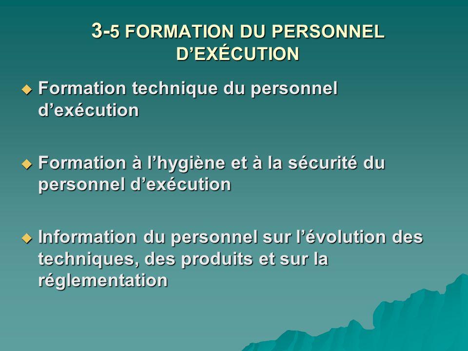 3- 5 FORMATION DU PERSONNEL DEXÉCUTION Formation technique du personnel dexécution Formation technique du personnel dexécution Formation à lhygiène et