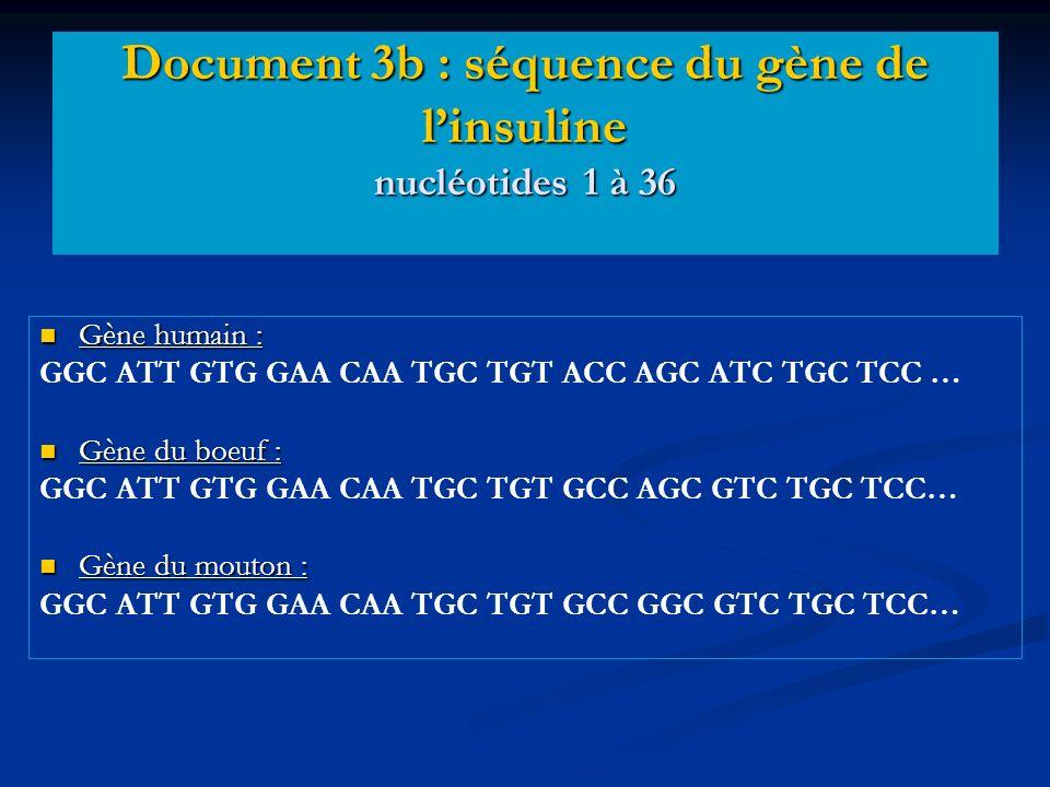 Gène humain : Gène humain : GGC ATT GTG GAA CAA TGC TGT ACC AGC ATC TGC TCC … Gène du boeuf : Gène du boeuf : GGC ATT GTG GAA CAA TGC TGT GCC AGC GTC