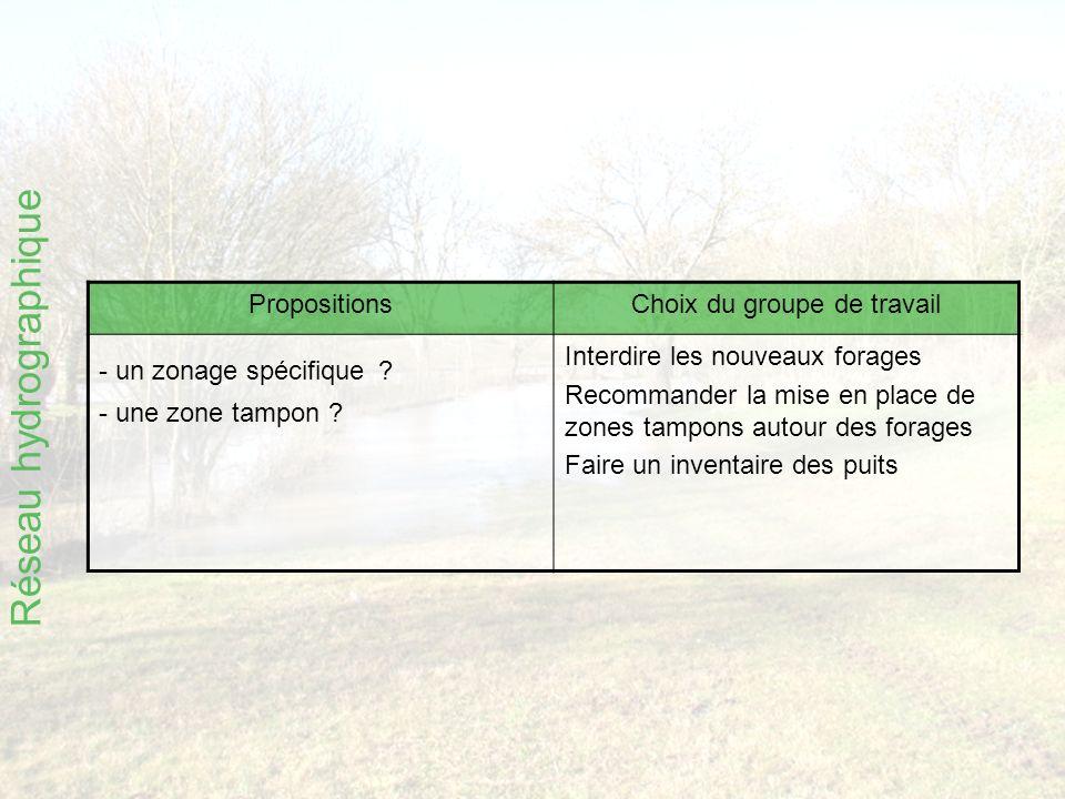 Réseau hydrographique PropositionsChoix du groupe de travail - un zonage spécifique .