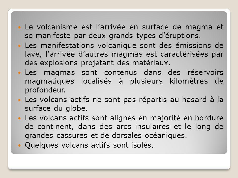 Le volcanisme est larrivée en surface de magma et se manifeste par deux grands types déruptions. Les manifestations volcanique sont des émissions de l