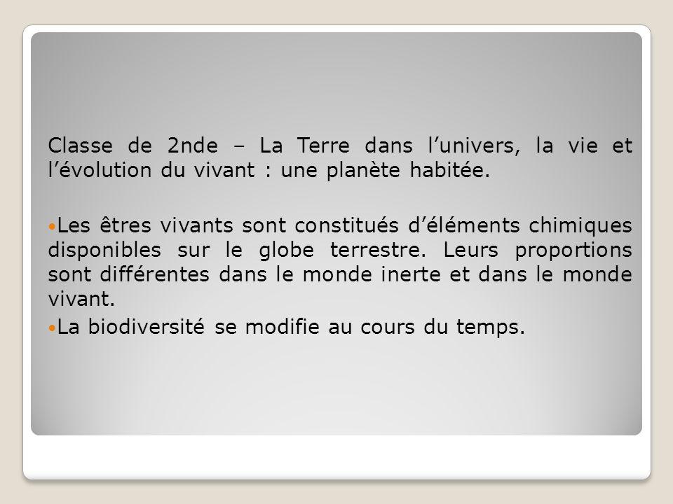 Classe de 2nde – La Terre dans lunivers, la vie et lévolution du vivant : une planète habitée. Les êtres vivants sont constitués déléments chimiques d