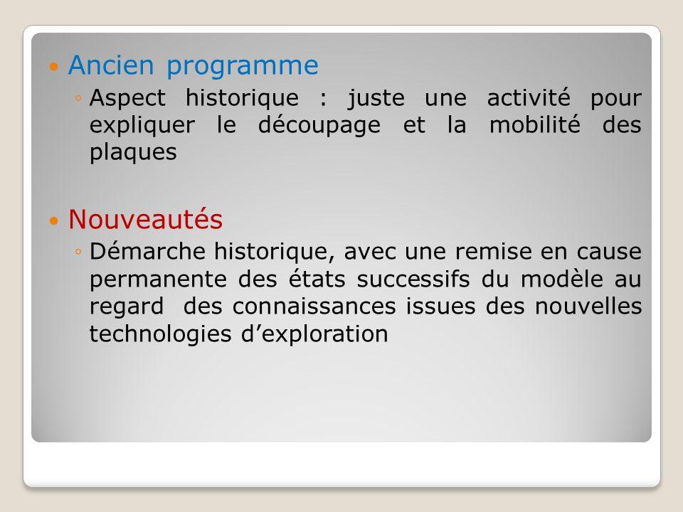 Ancien programme Aspect historique : juste une activité pour expliquer le découpage et la mobilité des plaques Nouveautés Démarche historique, avec un