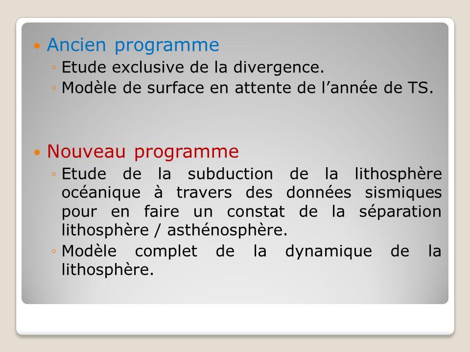 Ancien programme Etude exclusive de la divergence. Modèle de surface en attente de lannée de TS. Nouveau programme Etude de la subduction de la lithos