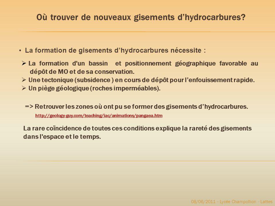 Où trouver de nouveaux gisements dhydrocarbures? La formation d'un bassin et positionnement géographique favorable au dépôt de MO et de sa conservatio