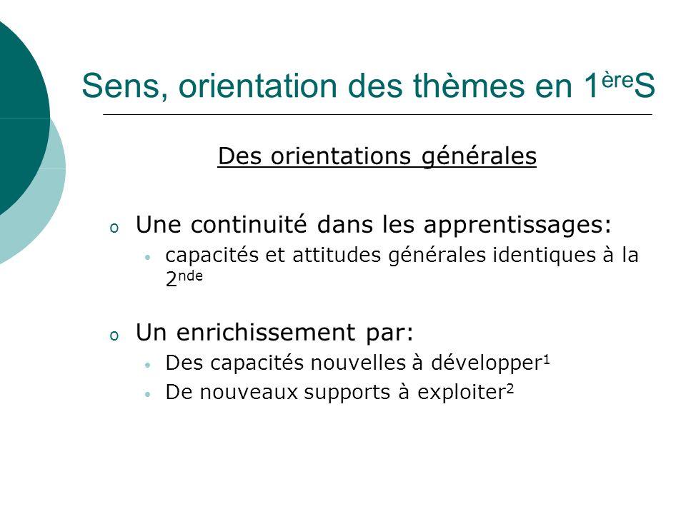 Sens, orientation des thèmes en 1 ère S Des orientations générales o Une continuité dans les apprentissages: capacités et attitudes générales identiqu