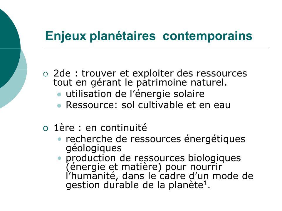 Enjeux planétaires contemporains 2de : trouver et exploiter des ressources tout en gérant le patrimoine naturel.