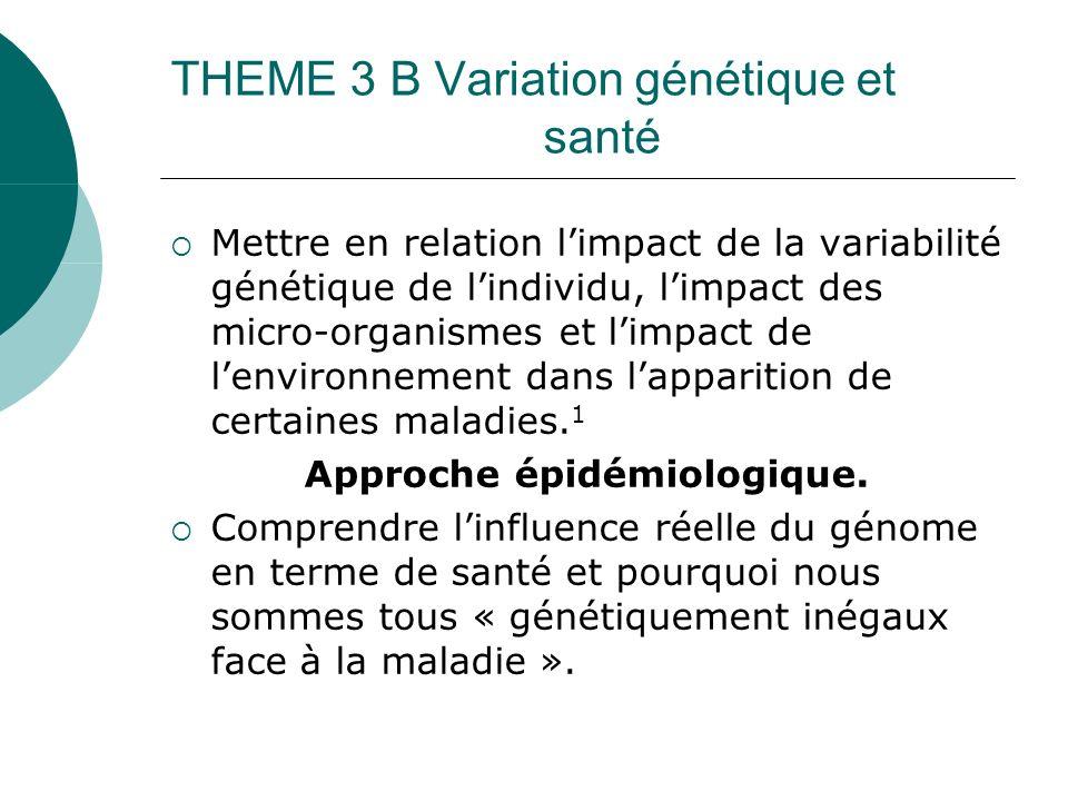THEME 3 B Variation génétique et santé Mettre en relation limpact de la variabilité génétique de lindividu, limpact des micro-organismes et limpact de lenvironnement dans lapparition de certaines maladies.